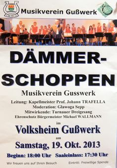 Termintipp: Dämmerschoppen mit dem Musikverein Gußwerk