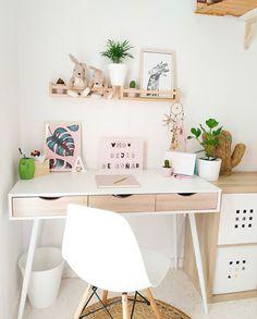 Bedroom Decor For Teen Girls, Cute Bedroom Ideas, Girl Bedroom Designs, Room Ideas Bedroom, Home Office Design, Home Office Decor, Home Decor, Desk Office, Study Room Decor