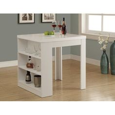 Monarch Specialties Counter Height Dining Table White Storage Pub& Table-I 1345 - The Home Depot Counter Height Dining Table, Dining Table In Kitchen, Kitchen Table With Storage, Wood Counter, Island Kitchen, Table Storage, Table Desk, Dining Area, Dining Room