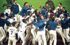 Toronto Blue Jays members mob teammate Joe Carter after his game-winning home run in bottom of in Game 6 of World Series on Oct. World Series History, Blue Jay Way, Batting Average, Cy Young, San Diego Padres, American League, Toronto Blue Jays, Philadelphia Phillies, Baltimore Orioles