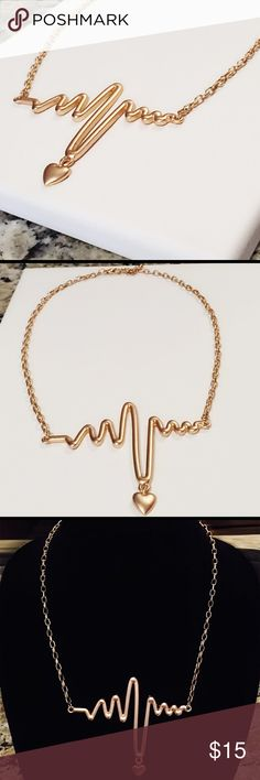 My Heart Beats for You - Trendy Gold Necklace Gold matte heart beat necklace. Boutique Jewelry Jewelry Necklaces