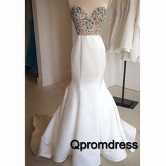 Elegant beaded white satin long mermaid prom dress, ball gown, prom dress 2016