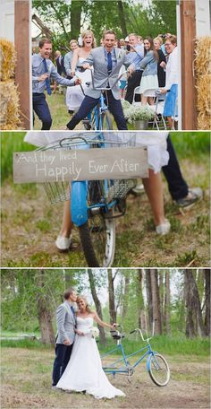 Super cute tandem bike used for the wedding get away! #justmarried #happilyeverafter #tandem http://www.weddingchicks.com/2013/11/01/burlap-and-lace-wedding/