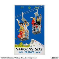 1955 Samoens - Sixt, France Original Ski Poster // this was somewhere in the cottage I stayed at Ski Vintage, Vintage Ski Posters, Retro Posters, Tourism Poster, Poster Ads, Poster Prints, Stations De Ski, Ville France, Ski Lift