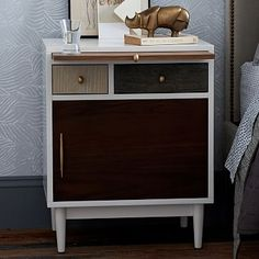 Patchwork Nightstand #westelm All time favorite! Love the hidden extra space provided by the tray, all the mixed finishes, the gold knobs...form meets function!