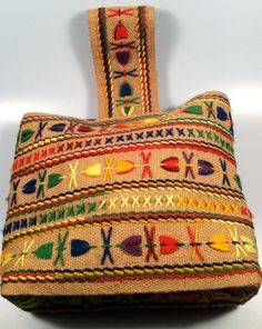 HIPPIE Woven Embroidered Handbag 70's by rememberwhenemporium