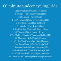 60 minute indoor cycling ride: