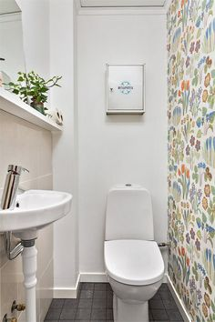 Färgglad tapet som fond på toalett Tiny Bathrooms, Beautiful Bathrooms, Small Bathroom, Guest Toilet, Downstairs Toilet, Wc Retro, Beautiful Interior Design, Bathroom Toilets, Home Wallpaper