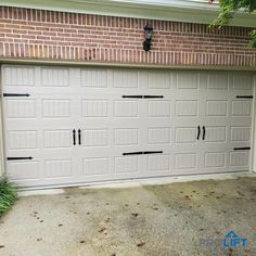 This new garage door is not only stylish, it's practical too! With a stamped carriage house design as well as decorative hardware (hinges and handles), the door is constructed with three layers of insulation for energy efficiency, quiet operation, sound control, and added door strength. | ProLift Garage Doors on Houzz | Project and Photo Credits: ProLift Garage Doors of Chattanooga Garage Door Insulation Kit, Garage Heater, Garage Door Panels, Carriage House Garage Doors, Home Safety, Indoor Outdoor, Outdoor Decor, Door Ideas, Energy Efficiency