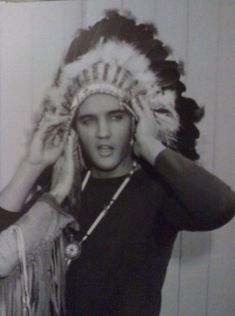 Elvis + Native American Headdress= LOVE