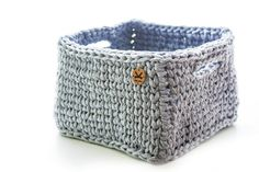 Crochet cube storage basket from gray mélange T-shirt yarn (92% cotton, 8% spandex). Use it to organize toys, stationery, bath accessories and bijouterie. Decor your home or office with this flexible and durable useful basket. It'll add very homy and cozy atmosphere in any space! Cute gift for any cases.  Approximate dimensions: Length х width – 20х20 cm (7,87) Height – 14 cm (5,51)  Note: colors on the photos may very slightly depending on your screen settings.  Made in a smoke free home…