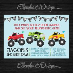 Monster Truck Birthday Invitation, truck, racing, car, 2, 3, 4, 5, first, second, third, boy, simple, custom invite, digital file, you print