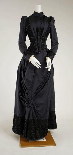 Dress, black  Date: 1888–89 Culture: American or European Medium: silk  Metropolitan Museum of Art  Accession Number: C.I.63.23.4a, b