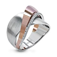 MR2681-Simon G. white and rose gold and diamond right hand fashion ring