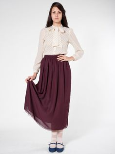 American Apparel - Chiffon Double-Layered Full Length Skirt (in many many colors)
