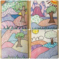 Teaching ideas 568016571749432238 - Art Sub Lessons: Patterned Landscapes Source by sabineballion Preschool Art Lessons, Landscape Art Lessons, Art Lessons For Kids, Art Lessons Elementary, Primary Lessons, Art Ideas For Teachers, Visual Art Lessons, Elementary Teaching, 3rd Grade Art Lesson