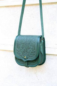emerald green black tooled leather bag - shoulder bag - crossbody bag - handbag - ethnic bag - messenger bag - for women - capacious