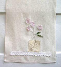 Crocheted Vase of Vintage Tatted Flowers TEA TOWEL by VintageHome