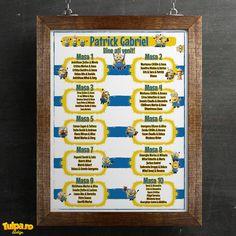 Afiş cu Minioni pentru intrarea în restaurant  Afişul este printat pe carton fotografic şi are dimensiunea A3. Se poate personaliza în funcţie de numărul de mese sau numărul invitaţilor. Restaurant, Frame, Home Decor, Picture Frame, Decoration Home, Room Decor, Diner Restaurant, Restaurants, Frames