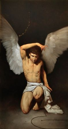 "Roberto Ferri born in Taranto in In graduated from art school ""Lysippos"" of Taranto.Roberto Ferri began to study painting Male Angels, Angels And Demons, I Believe In Angels, Ange Demon, Caravaggio, Classical Art, Italian Artist, Male Figure, Angel Art"