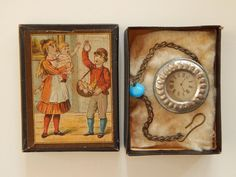 Antique German doll pocket watch in the box! Now available in my Ruby Lane shop: Kim's Doll Gems