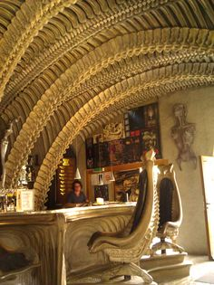 Giger Bar - Switzerland What would you order? Acid on ice? Facehugger-tini? So cool.