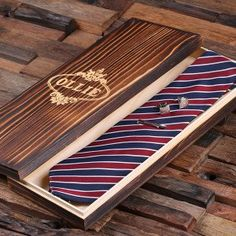 Personalized Red, White, and Blue Striped Tie Set, Cuff Links, Tie Clip, Wood Gift Box