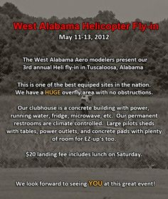 #RCHeli Fly-in in Tuscaloosa, AL May 11-13