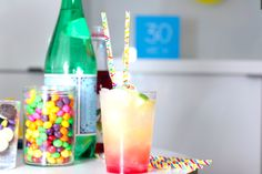 'Sprinkles' pattern straws in colourful cocktail drink
