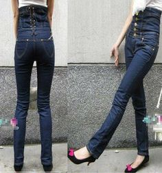 moda plus size 2013 pulsanti stretti pantaloni a vita alta donna jeans skinny matita pantaloni boot cut jeans