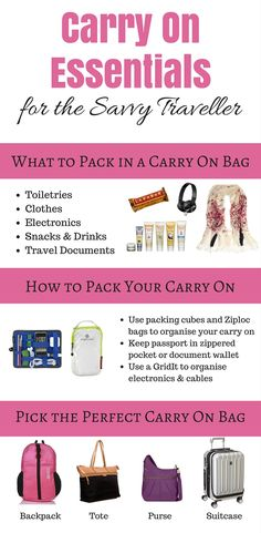 Carry On Essentials for the Savvy Traveller: What to pack in a carry on bag for a long flight, how to pack your carry on and picking the perfect carry on bag to suit your trip! Downloadable packing checklist included!