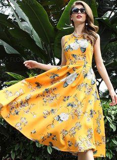 Dresses - $112.89 - Cotton Blends Floral Sleeveless Mid-Calf Vintage Dresses (1955100517)