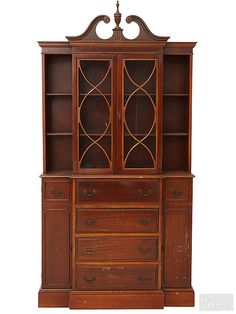 With a formal profile and a dinged-up finish, this hutch was begging for a modern revamp./
