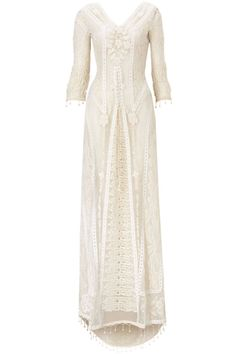 Beautiful long off white, crochet and lace dress. 2014