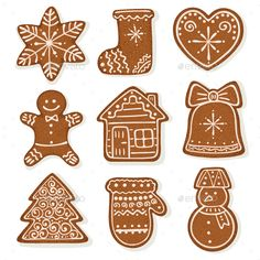 Buy Gingerbread Vector Collection by ollymolly on GraphicRiver. Christmas gingerbread vector illustration isolated on white background. Gingerbread Christmas Decor, Christmas Art, Christmas Baking, Winter Christmas, Christmas Decorations, Christmas Ornaments, Nail Art Noel, Illustration Noel, Theme Noel