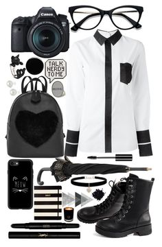 Nerdy look by nelicaaa on Polyvore featuring polyvore fashion style Maison Margiela Betsey Johnson AK Anne Klein Casetify Burberry Ace Anya Hindmarch Yves Saint Laurent Charlotte Russe Deborah Lippmann Kate Spade EB Florals Eos clothing basic blackandwhite Nerdy
