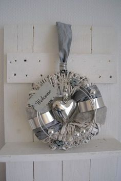 T wreath white gray 25 cm wicker wreath heart silver . Christmas Wreaths, Christmas Crafts, Outside Decorations, Decorative Bells, Crafty, Grey, Quilling, Silver, Accessories