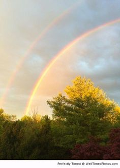 Double rainbow after a rainstorm during sunset