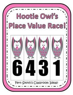 Place Value Race Game Hootie Owl Theme By Fern Smith Common Core Standards For Place Value 1.NBT.2 ~ 1.NTB.3 2.NBT.1 ~ 2.NBT.3 and 2.NBT.4 3.NBT.2 April Showers Bring May Flowers ~Pinned By www.FernSmithsClassroomIdeas.com