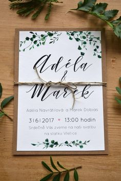 "Svatební oznámení ""Green love / Zboží prodejce atelier MADE Plan My Wedding, Wedding Prep, Diy Wedding, Dream Wedding, Create Wedding Invitations, Vintage Wedding Invitations, Wedding Stationery, Wedding Card Design, Wedding Cards"