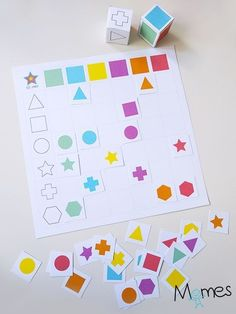 Double entry table: shapes and colors- Tableau à double entrée : formes et couleurs Here is a double entry table in the form of a dice game to print! A shape die, a color die and a board on which to place the right stickers in the right places! Toddler Learning Activities, Infant Activities, Book Activities, Kids Learning, Montessori Activities, Kindergarten Activities, Preschool Activities, Kids Education, Kids And Parenting