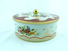 Vintage Daher Round Tin Box With Lid Floral Red Gold Made In England