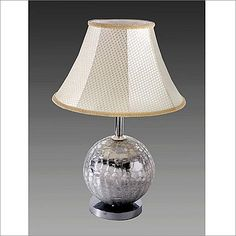 Yosemite Home Decor Glass Disco Ball Portable Table Lamp with Beige Bell Shape Shade - - - Massage Chairs , Recliners , Bedroom Furniture , and Mattresses Mirror Ball, Portable Table, I Love Lamp, Disco Ball, Bedroom Furniture, Ron Burgundy, Table Lamp, Shades, Lighting