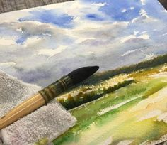 How to Paint Field and Sky Watercolor Painting #watercolorarts