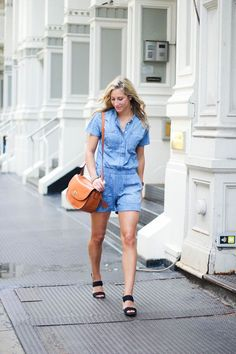 Getting ready is a breeze with a denim romper! One-stop shop for a perfect look!