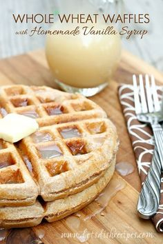 Whole Wheat Waffles with Homemade Vanilla Syrup | The best easy whole wheat waffle recipe combined with homemade vanilla syrup equals one delicious breakfast!