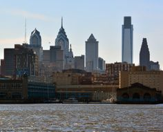 A closer look at the city skyline as seen from the Camden, NJ, waterfront.