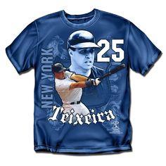 New York Yankees MLB Mark Teixeira #25 Players Shield Mens Tee (Navy) (Small)