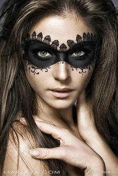 Black lace mask makeup