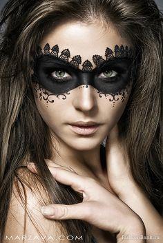Black lace mask makeup